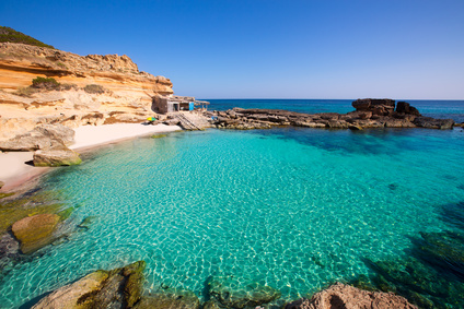 Azure pool along the beach on Ibiza